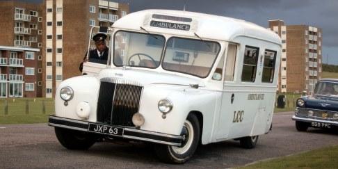 Historic Daimler Ambulance on a film set