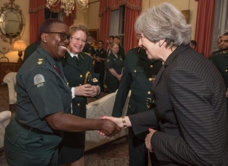 Control Room Manager Cathy-Anne Burchett and Deputy Director of Operations Pauline Cranmer meet Prime Minister Theresa May.