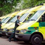 A fleet of ambulances