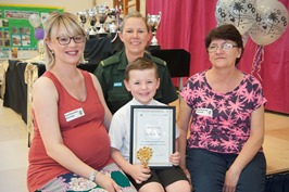 Five year old Taylor and his Mum, Louize, and Nan, Jean, were joined at Taylor's school by paramedic Lisa Snowden