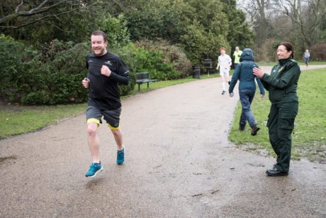 Tracy Castle, Community Resuscitation Officer, cheers Neil on during his run as he raises money for life-saving equipment