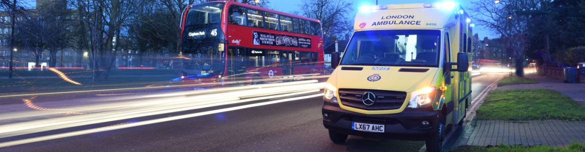 An ambulance parked at an emergency call