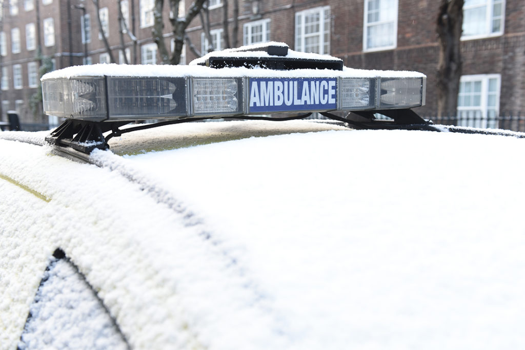 Ambulance car in the snow