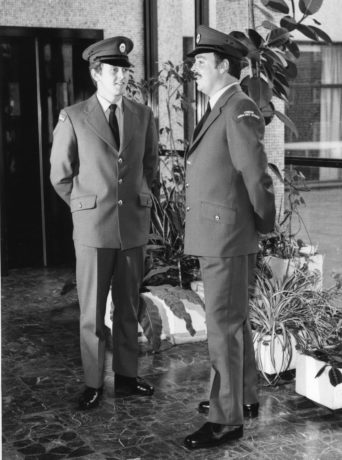 New uniforms modelled in our Waterloo headquarters in nineteen seventy two