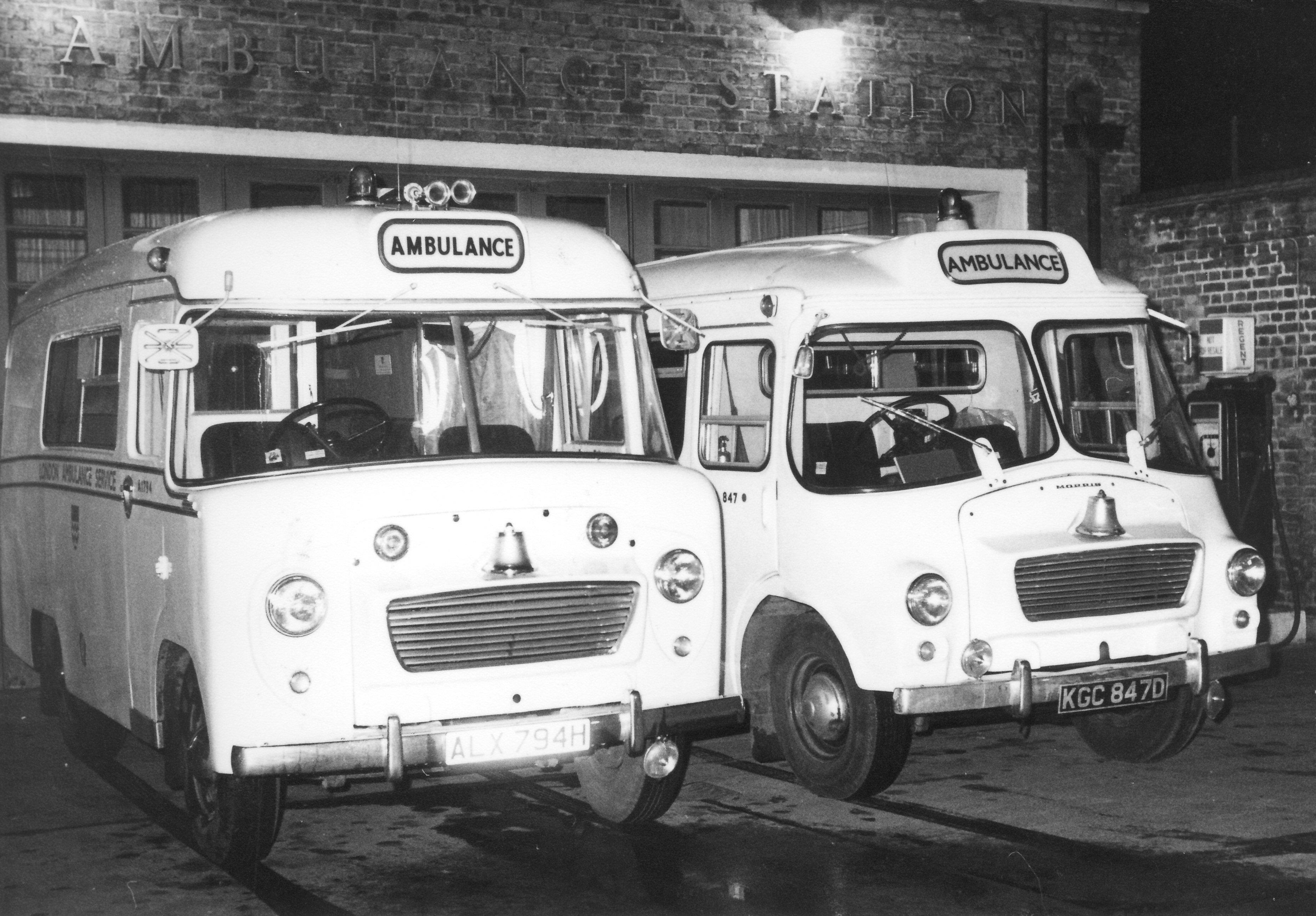 Ambulances at Shoreditch Ambulance Station in nineteen sixty nine