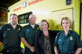 MP Mary Macleod at Isleworth ambulance station with AOM Edward Potter, Paramedic Lorraine Bint and EMT Lee Hopkins