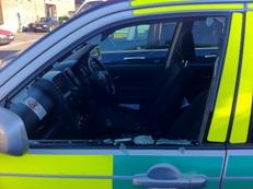 The damaged emergency vehicle at Hillingdon