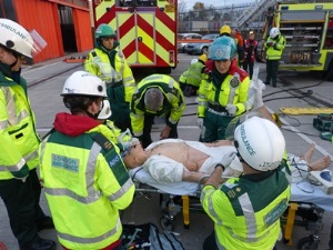 Chief Executive Dr Fionna Moore instructs paramedics at a previous exercise