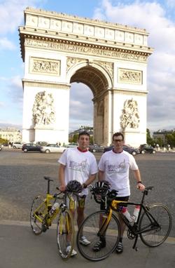 Ben pictured (right) reaching the Arc de Triomphe Paris