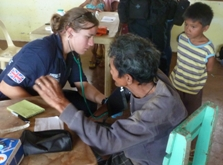 Susanna treating patients affected by Typhoon Haiyan