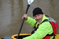 Tony McColley practices for his kayak challenge