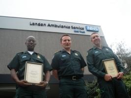 Tony Allen, Jason Killens and Tony Hookings outside ambulance headquarters