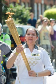 Tracy Russell carrying the Olympic torch