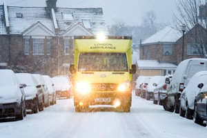 A Bromley ambulance in the snow in Janaury 2010