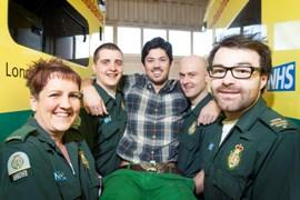 Maxi Ducam-Davies and ambulance staff