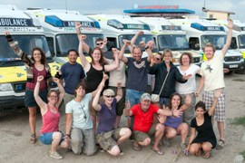 Volunteers and ambulances in Mongolia