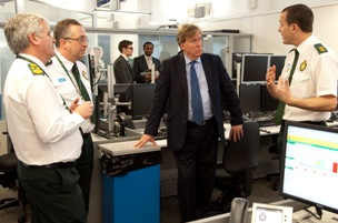 Health Minister Simon Burns meets London Ambulance Service staff