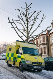 An ambulance in the snow