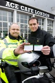 Motorycle Paramedic Richard Webb-Stevens and Ambulance Motorycle Club Chairman Ian Burrell