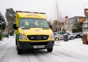 Bromley ambulance crew in snow
