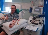 Lee Davis in hospital donating stem cells