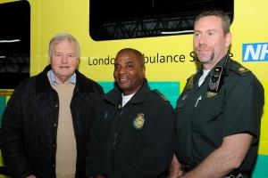 Bob Stewart MP with EMT Tony Scantlebury and Paramedic Rod Bryant