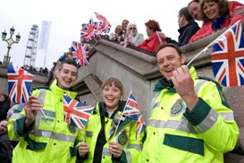 Staff working at the Queen's Diamond Jubilee river pageant