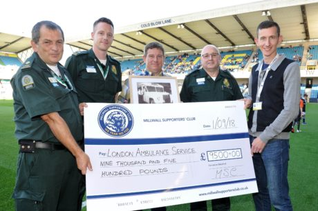 Millwall FC Supporters' Club present a cheque to London Ambulance Service