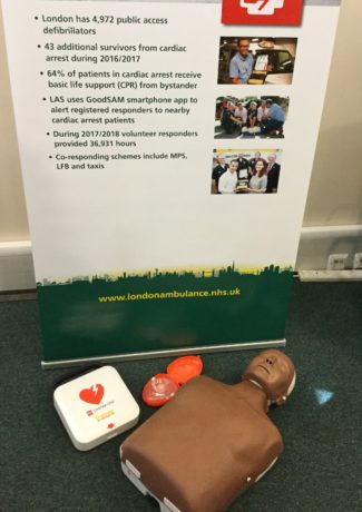 A training defibrillator and resuscitation mannequin, similar to the ones used in our first aid stalls