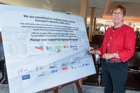 Dr Trisha Bain and the pledge board