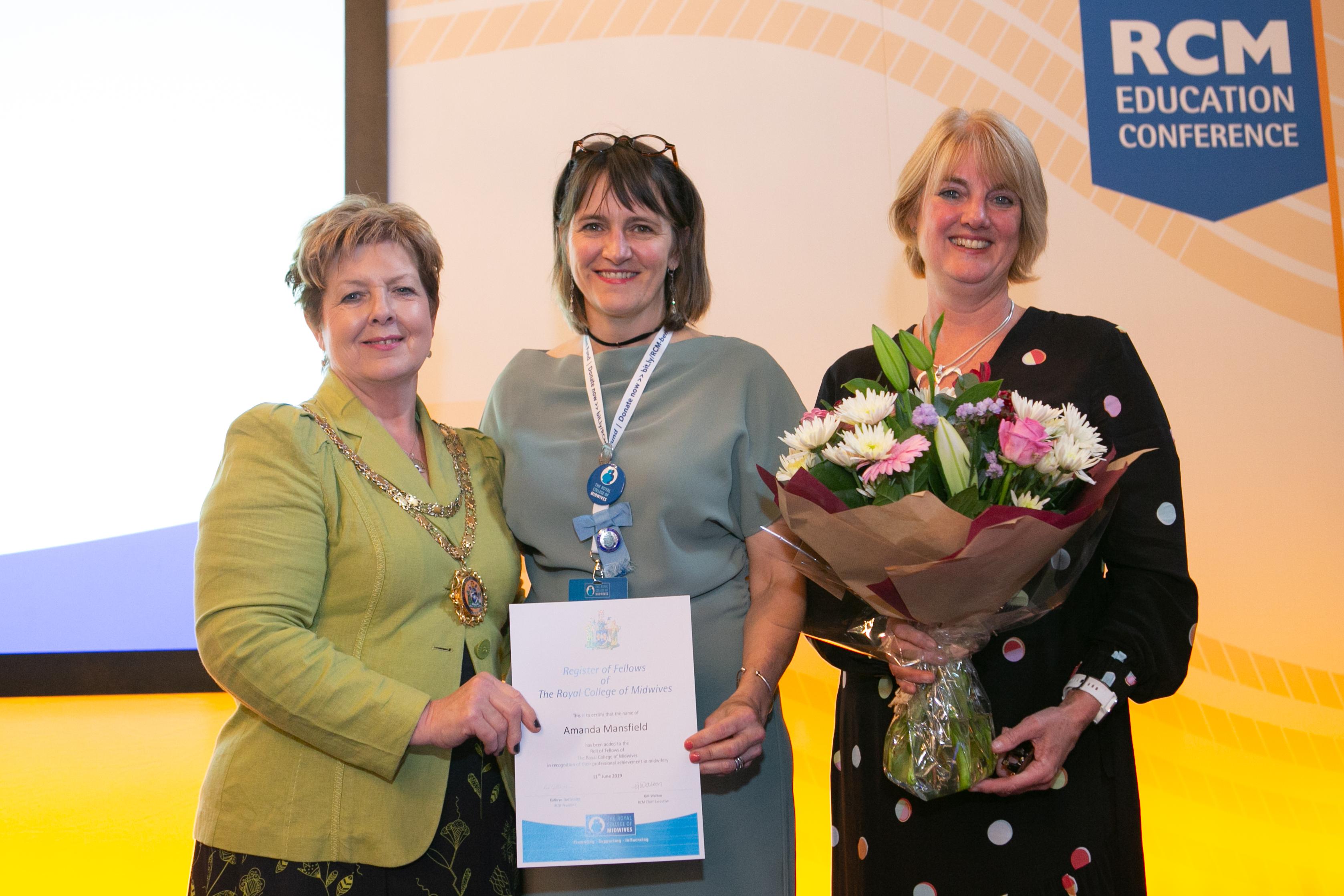 (L to R) RCM President Kathryn Gutteridge, Amanda Mansfield & RCM CEO Gill Walton
