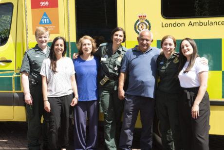 The Kallis family with London Ambulance staff