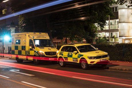 Ambulance and car