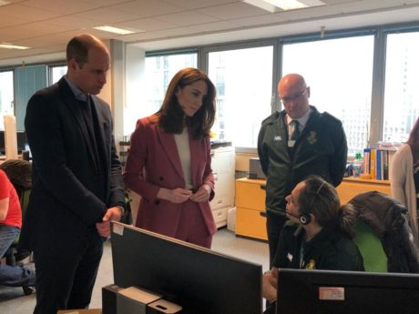 Duke and Duchess of Cambridge talk to LAS Chief Executive and call handler in control room