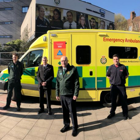 Paramedic Ralph Chadkirk, LFB Commissioner Andy Roe, LAS Chief Executive Garrett Emmerson and firefighter Dominic Pierce