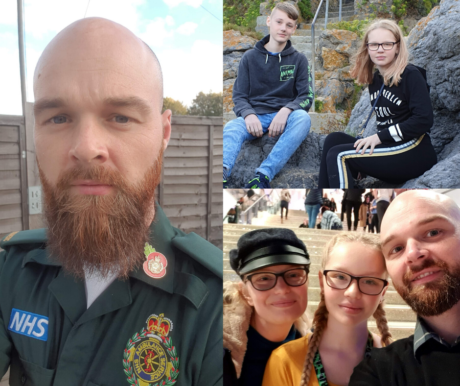 A image collage showing John in his Service uniform, his two children sat on some rocks and a photo of John, his wife and daughter smiling to the camera