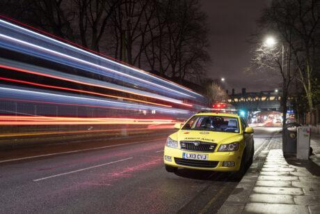 ambulance car on road at night
