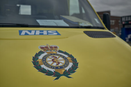 London Ambulance Service crest on an ambulance bonnet