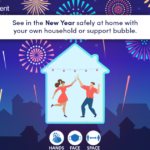 A graphic which shows two people dancing indoors with the message see in the New Year safely t home with your own household or support bubble