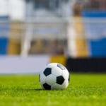 A football on a football field