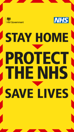 A graphic reads Stay home, protect the NHS, save lives