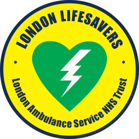 The London Lifesavers Logo which is a green heart with a shock symbol in the middle surrounded by the words London Lifesavers and the LAS