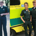 Collage image showing a very young Millie in her mum's ambulance jacket stood next to her mum in front of ambulance alongside a new image of Millie and Tina in uniform next to ambulance