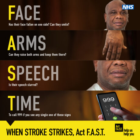 Graphic showing the Act FAST symptoms and a person's showing the symptoms
