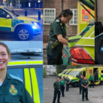 Compilation image of volunteers in uniform with ambulance cars
