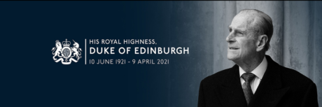 A tribute image to HRH The Duke of Edinburgh featuring a photograph of His Royal Highness