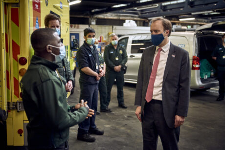 Matt Hancock in an ambulance garage speaking to a group of LAS staff