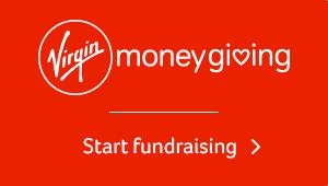 A read box that reads Virgin Money Giving start fundraising