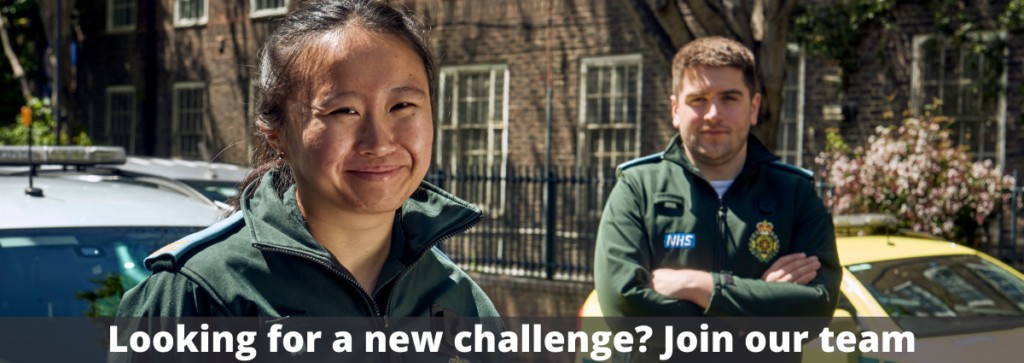 A female and male medic smiling to camera near to LAS vehicles with the words Looking for a new challenge? Join our team