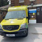 Ambulance parked on forecourt of Bounds Green ambulance station